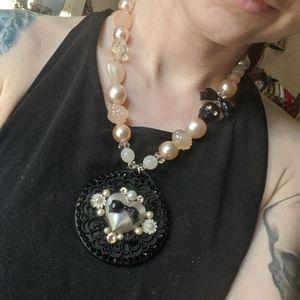 Tarina Tarantino tuxedo pearl heart black necklace